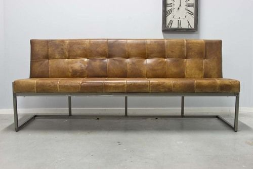Buffalo Industrie Sitzbank   Vintage Leder Rückenlehne   Art. 196