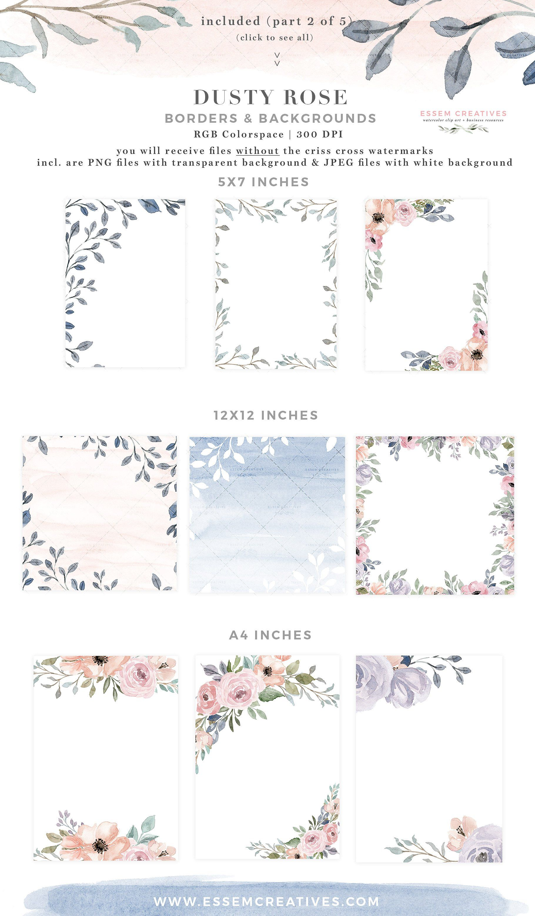 Dusty Rose Watercolor Flower Clipart Watercolor Wedding