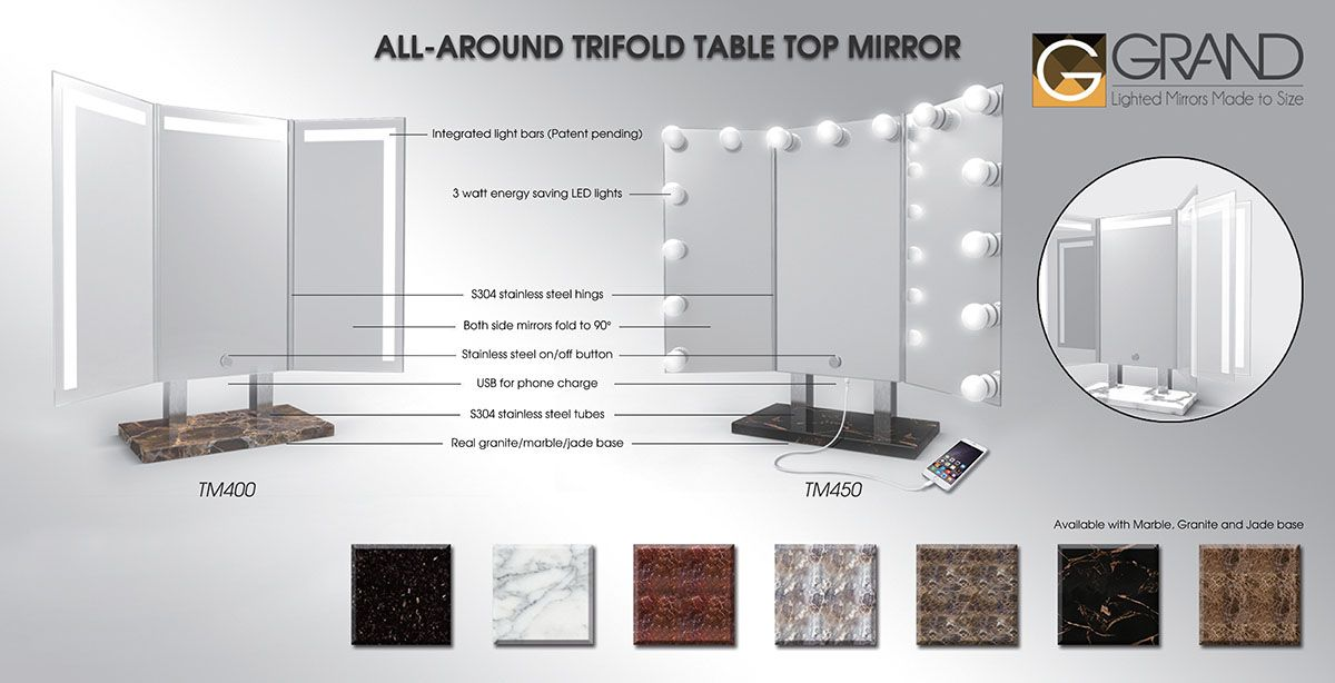 This Handsome Trifold Mirror Is Surrounded With 3 Watt Light Bulbs