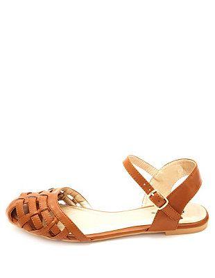 30a2a3cf71222 Qupid Flat Ankle Strap Huarache Sandals  Charlotte Russe ...