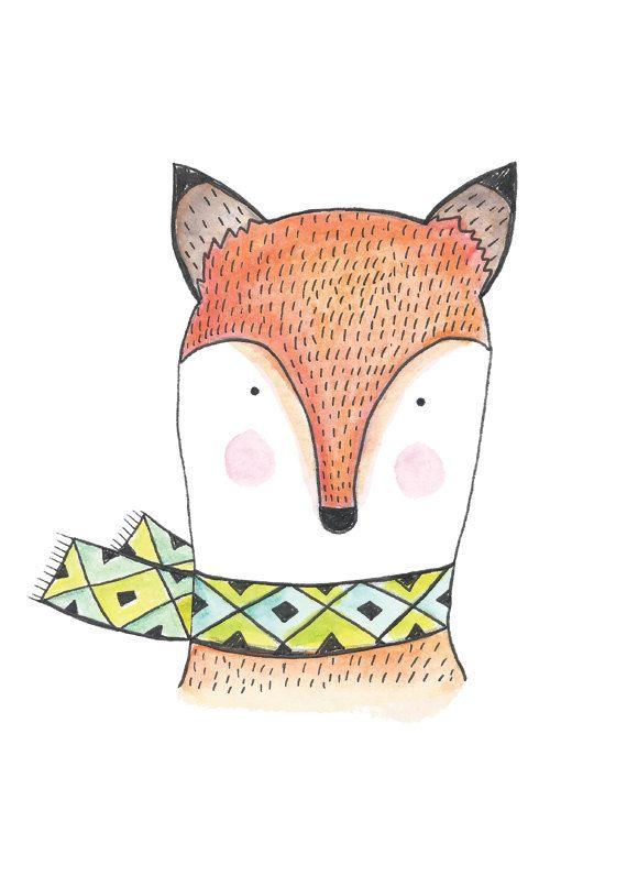Foxy. Art Print. Illustration d'un renard. Aquarelle.