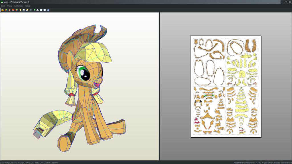 Applejack (My little pony) papercraft unfold by Antyyy.deviantart.com on @DeviantArt