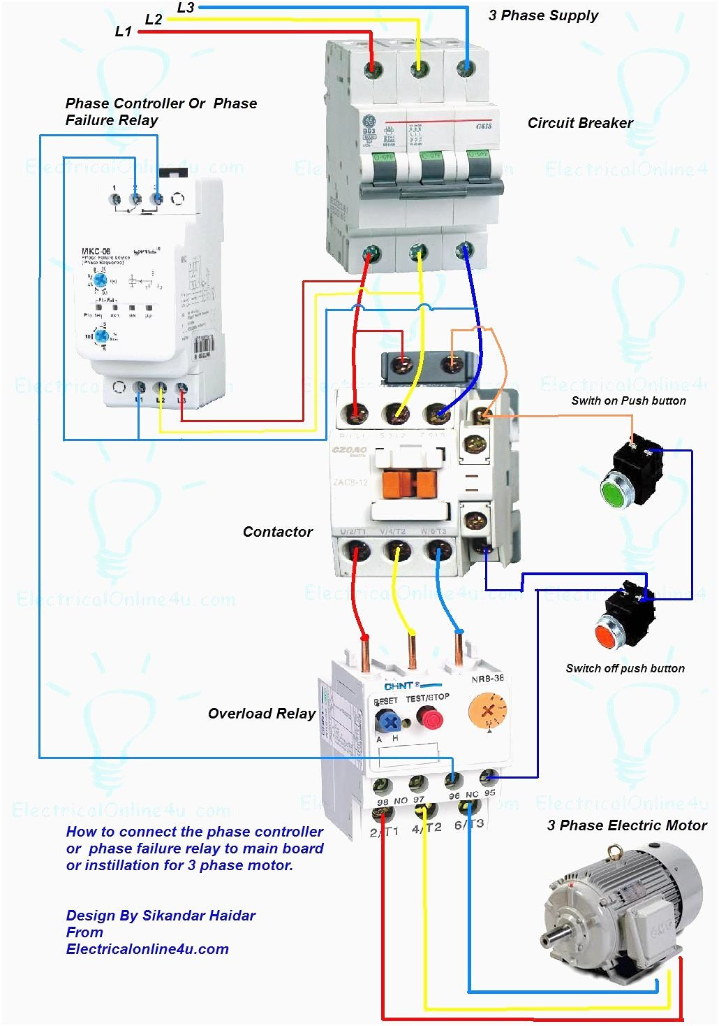 wiring diagram for motor starter 3 phase controller failure relay rh pinterest com 6 Wire 3 Phase Motor Wiring 6 Wire 3 Phase Motor Wiring
