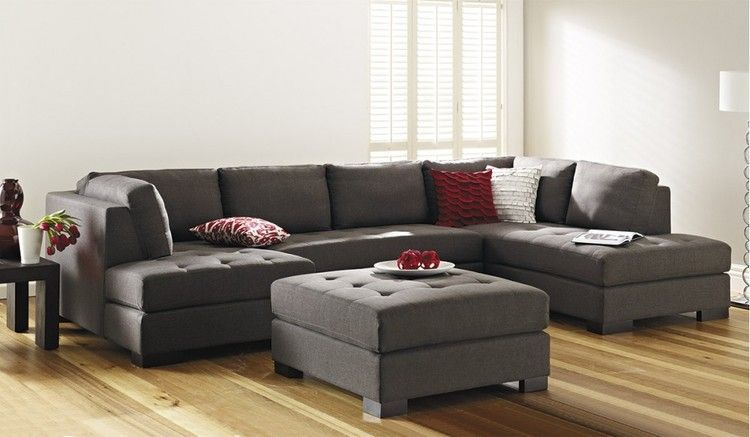 The Mirage Is A Large Pepper Coloured 6 Seater Corner Chaise Lounge Which  Includes Ottoman In