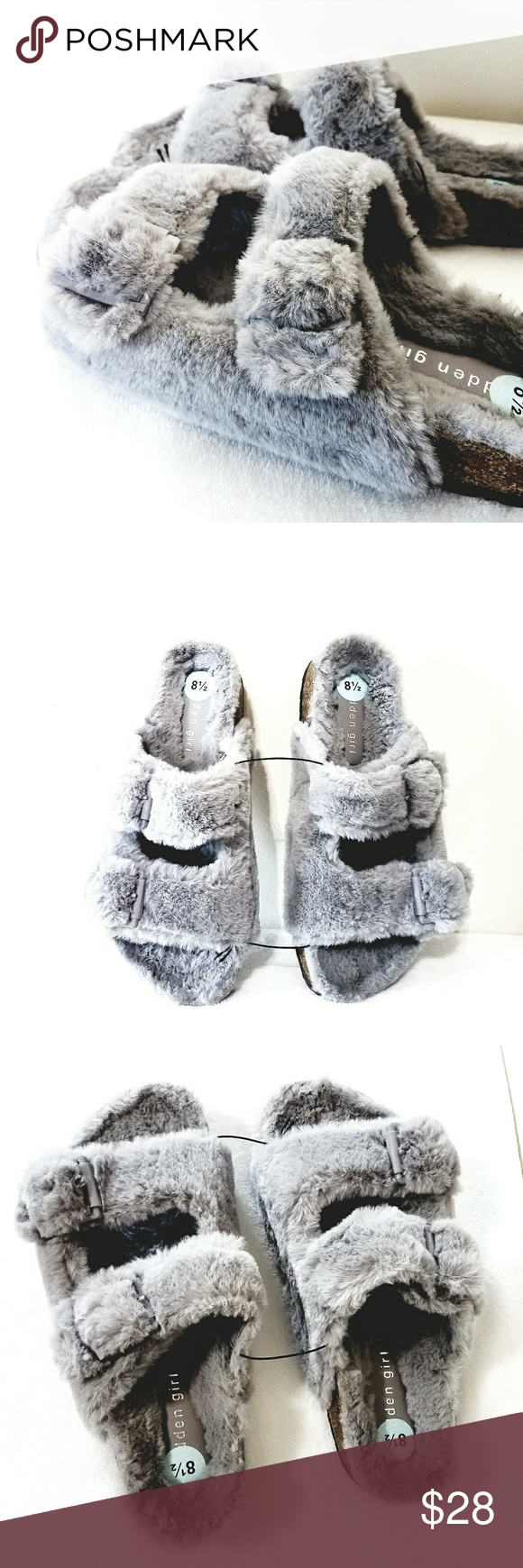 38ed3bb910a Madden Girl Furry Slides Brand New. Size 8.5 Gray No box Madden Girl Shoes