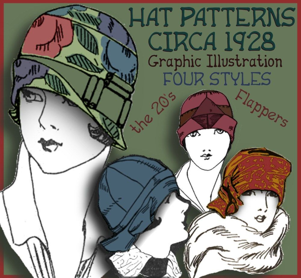 Vintage 1920\'s Flapper Hat Cloche Turban e-Patterns (Shirley Set ...