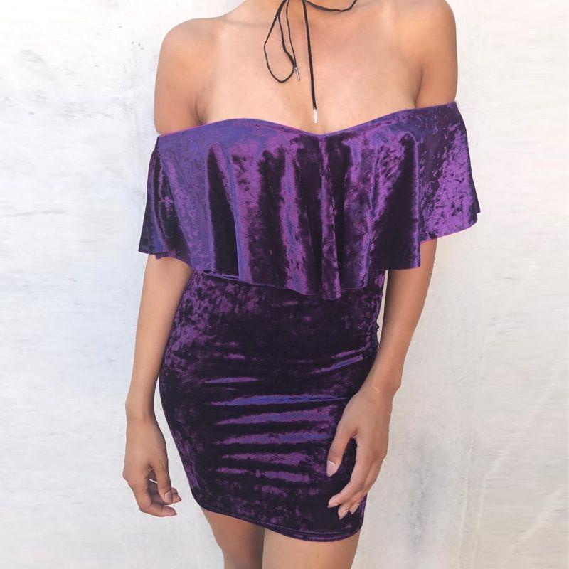 Aliexpress.com : Buy Fuedage Purple Velvet Dress Women Sexy ...