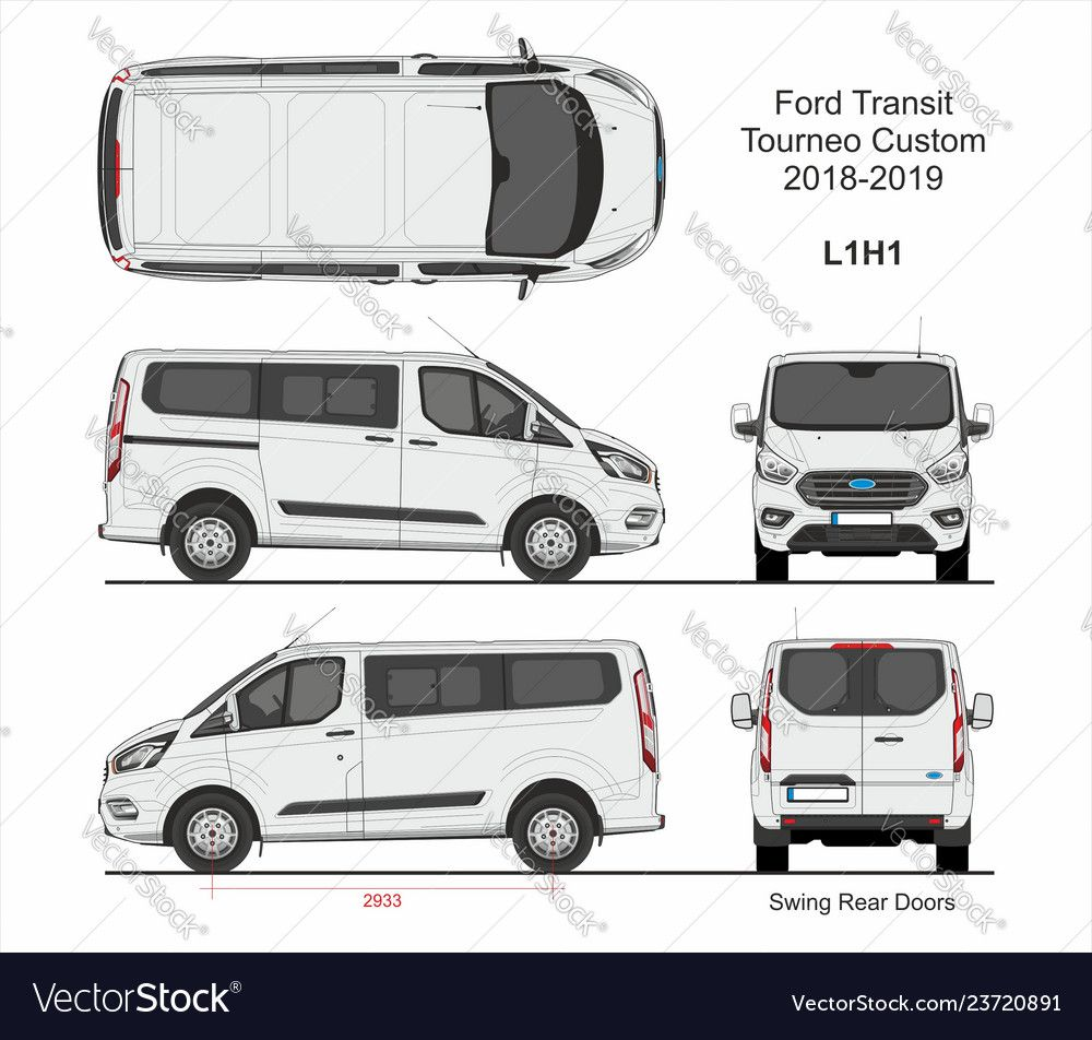 Ford Transit Tourneo Custom Van L1h1 2018 2019 Vector Image On