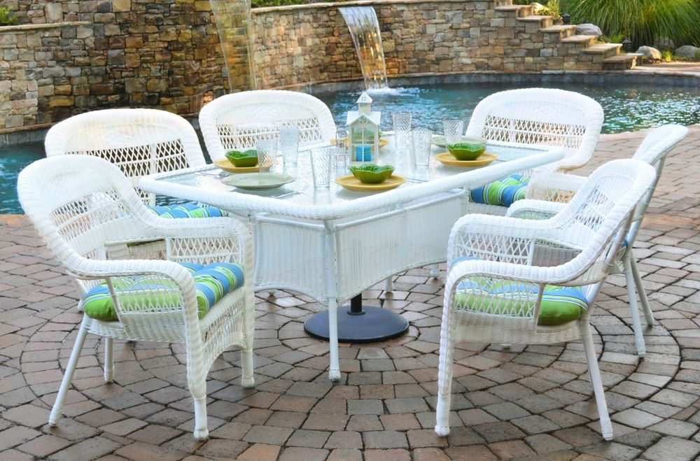 7 Piece Outdoor Dining Set White Wicker Furniture Tortuga