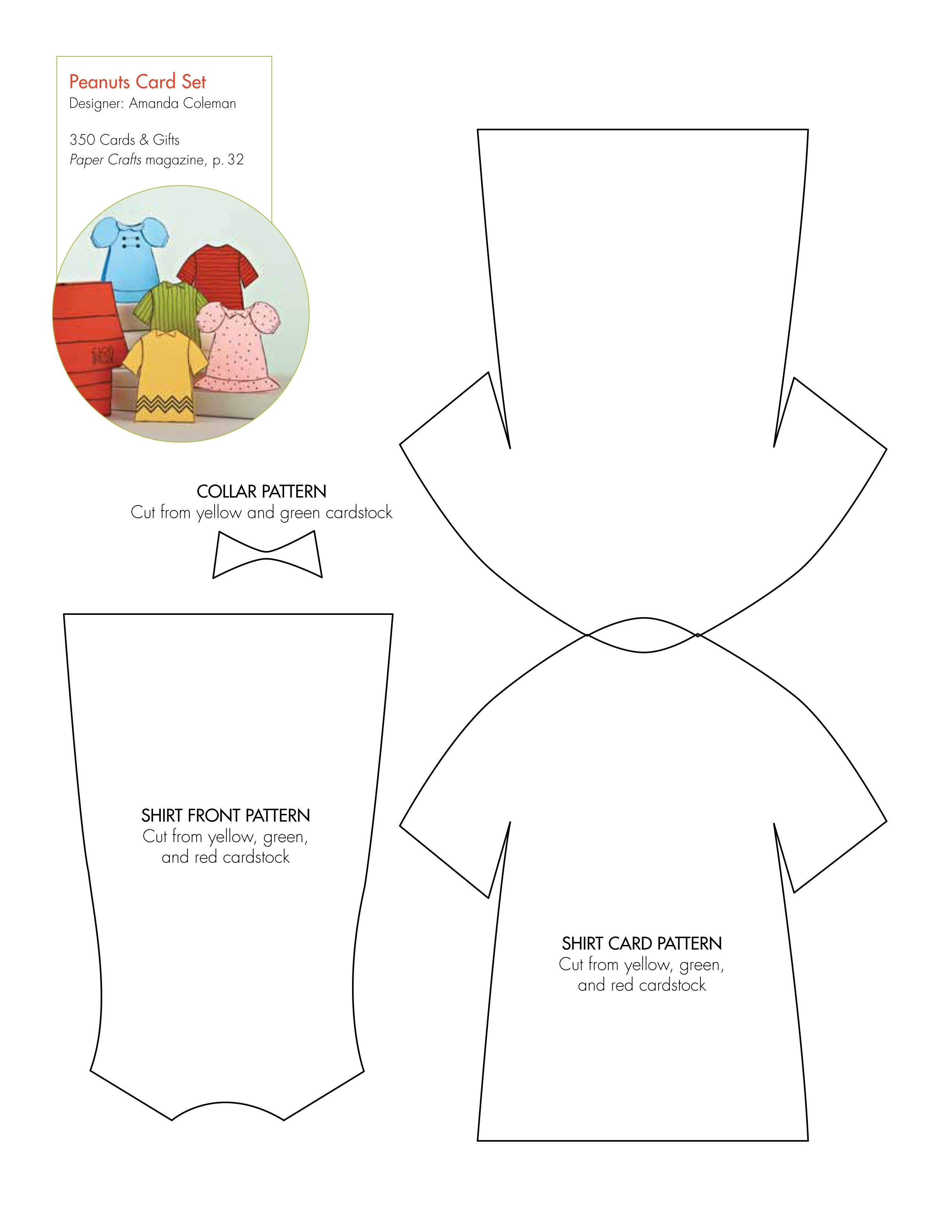 Free templates for a Peanuts card set: http://www.papercraftsmag.com ...