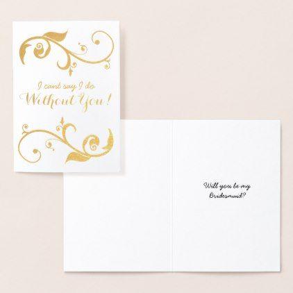 Gold Foil Bridesmaid Card Zazzle Com Bridesmaid Cards Wedding