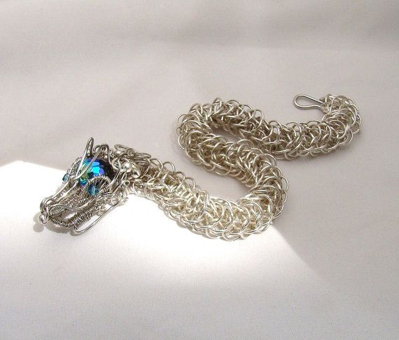 Wire wrapped and chainmail unique bracelet. I create each dragon (or ...