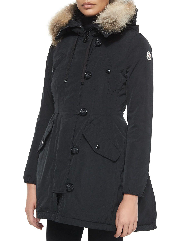 daa55e8b9 Moncler Arriette Fur-Trim Puffer Coat | My Style | Black fur coat ...