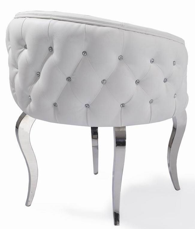 White Faux Leather Chair With Bling