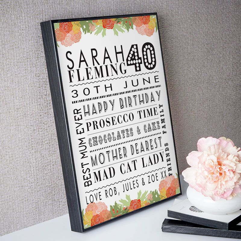 40th Birthday Gift For Her Of Personalised Age Print