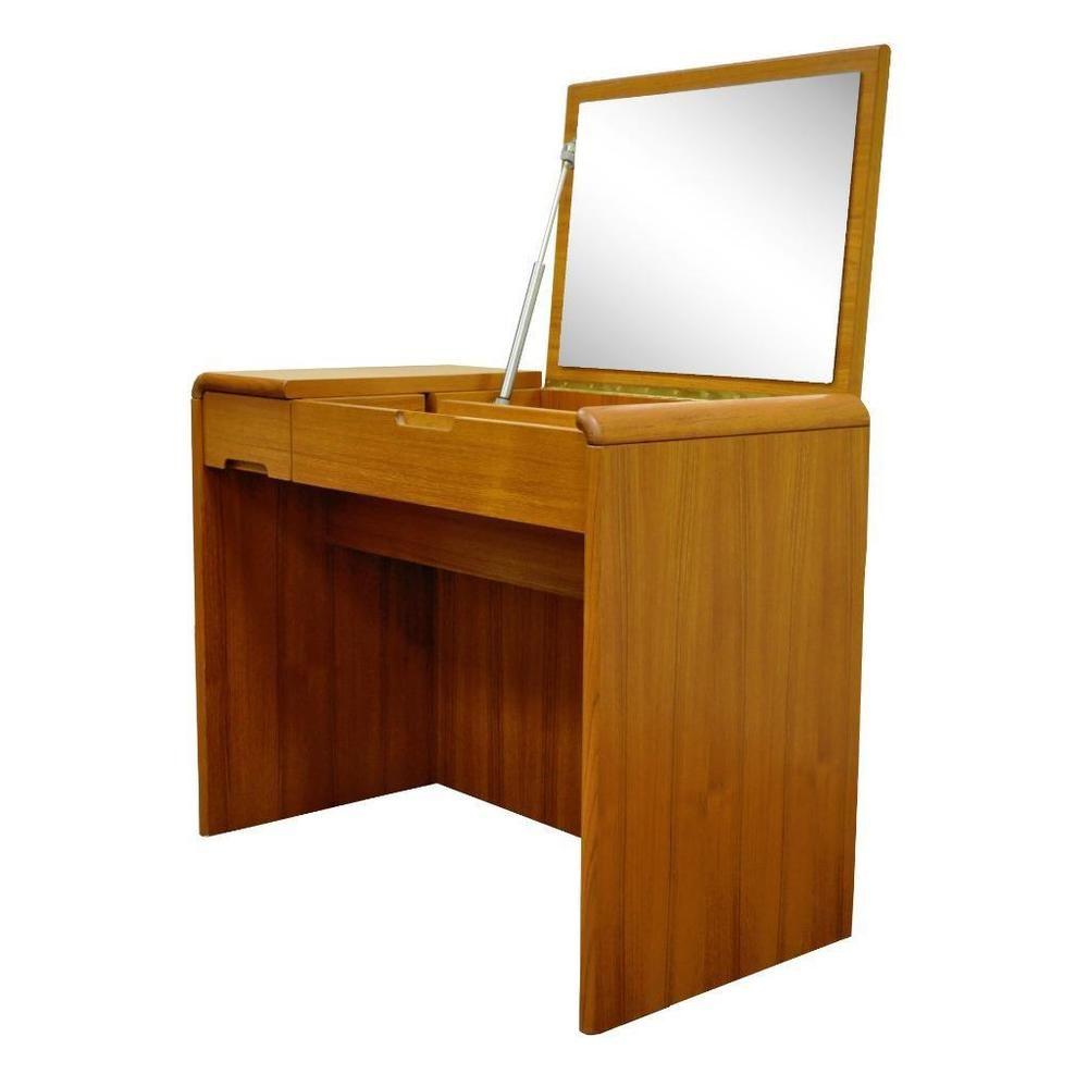 Vintage Mid Century Danish Modern Sty Teak Flip Top Mirror Vanity Sun  Cabinet Co