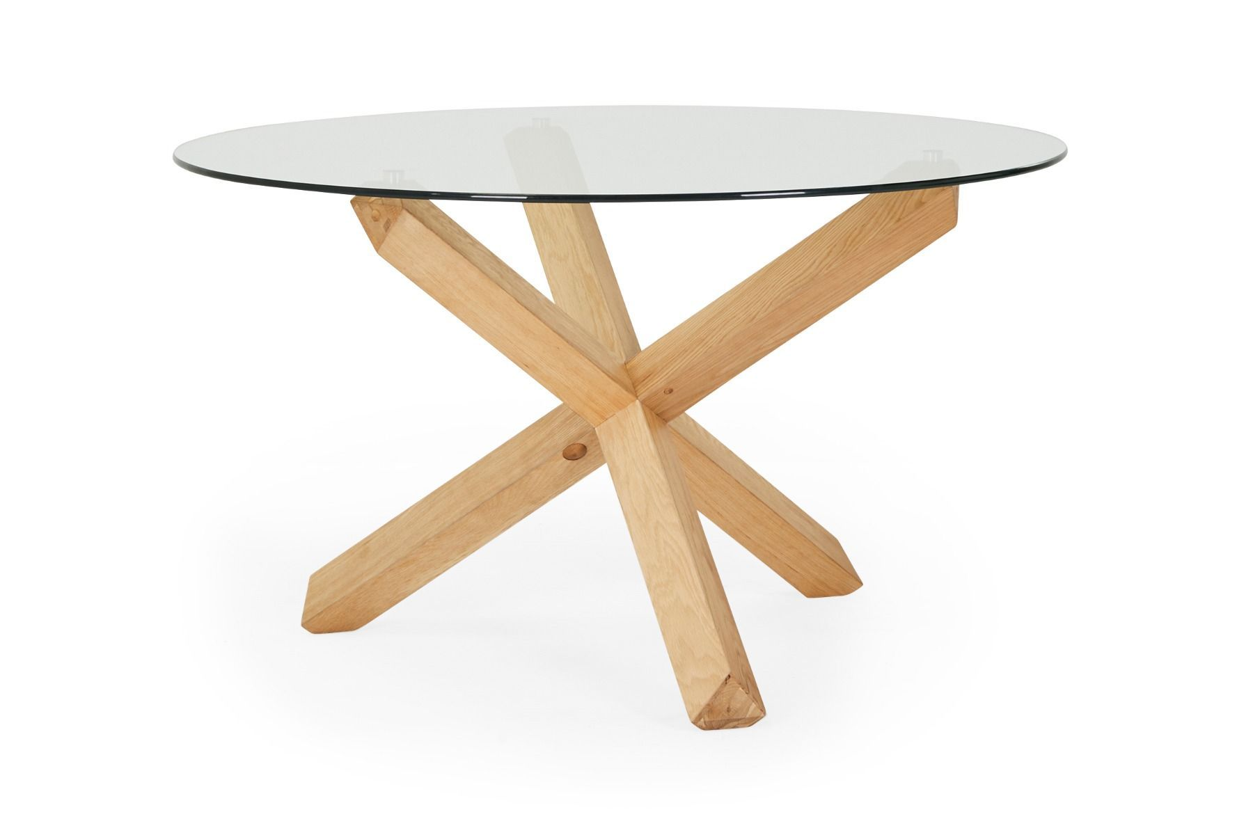 Round Glass Dining Table Oak Natural Legs Lounge Lovers Dining
