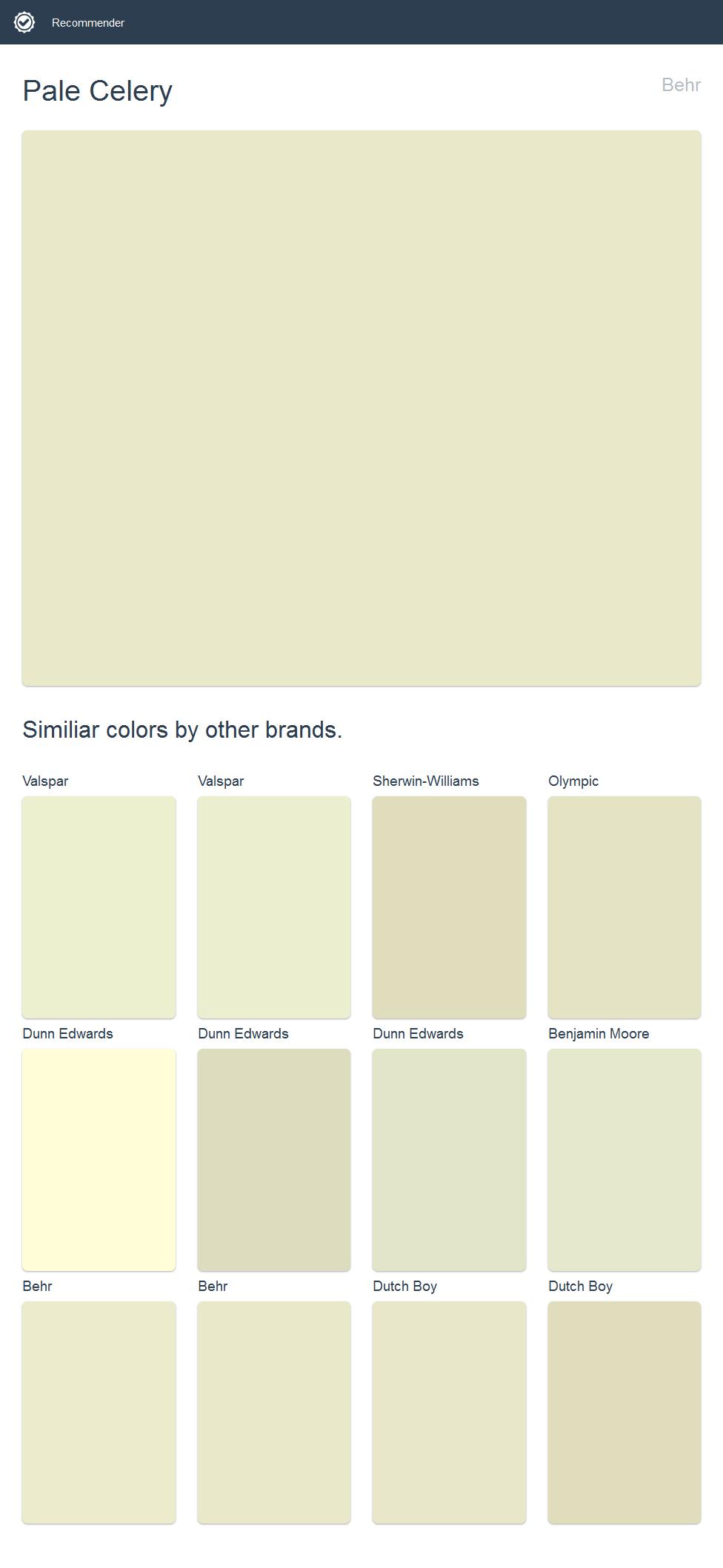 Pale Celery Behr Click The Image To See Similiar Colors By Other Brands Valspar Dutch Boy Dutch Boy Paint