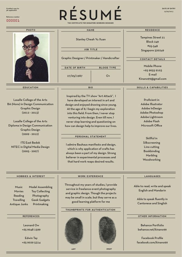 Stanley Cheah Yu Xuanu0027s resume illustrative graphical - how to type a resume