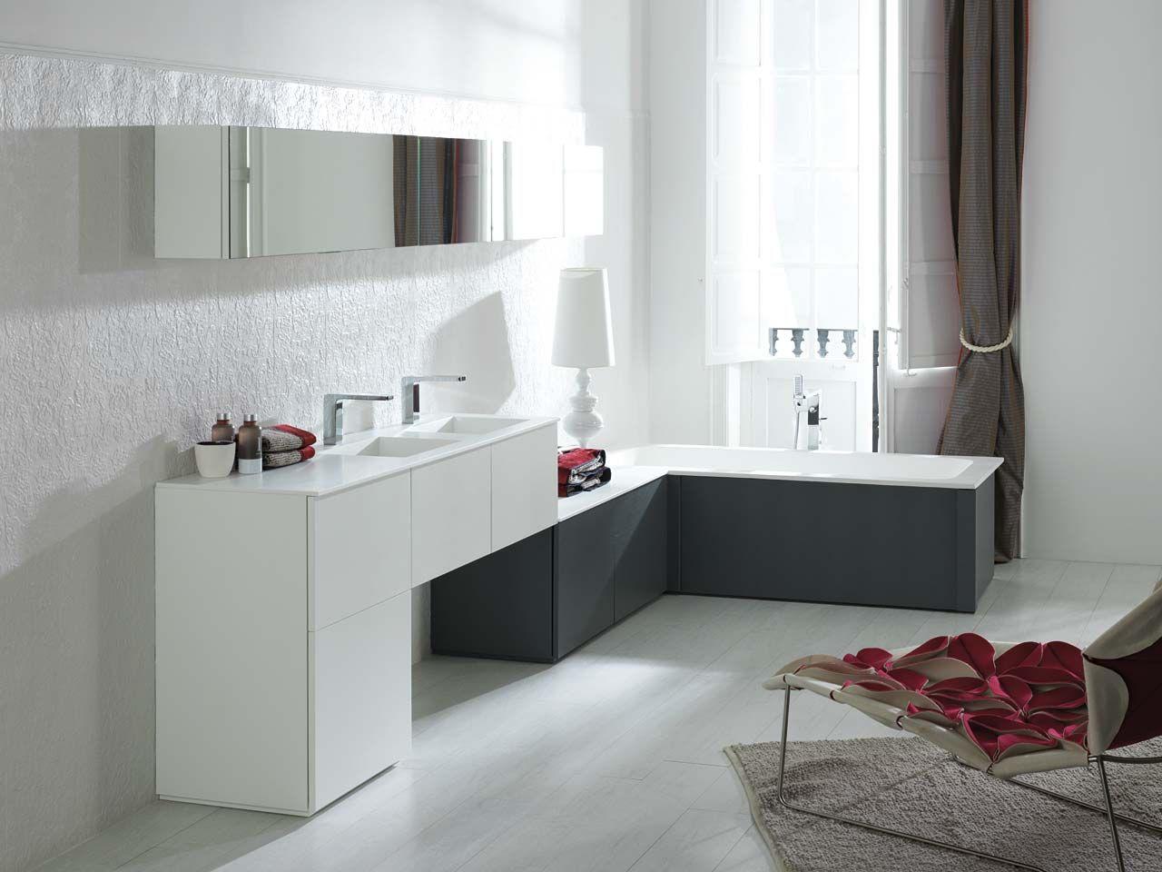 superb Porcelanosa Salle De Bain #8: composición mueble de baño NEXT de Porcelanosa, lacado en blanco brillo con encimera y lavado integrado de Krión. Composición oferta: muebles de 47u2026