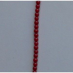 Coral natural rojo (teñida), Bola 3-4mm, tira de 40 cm.  (PVP 3,15 € + IVA)