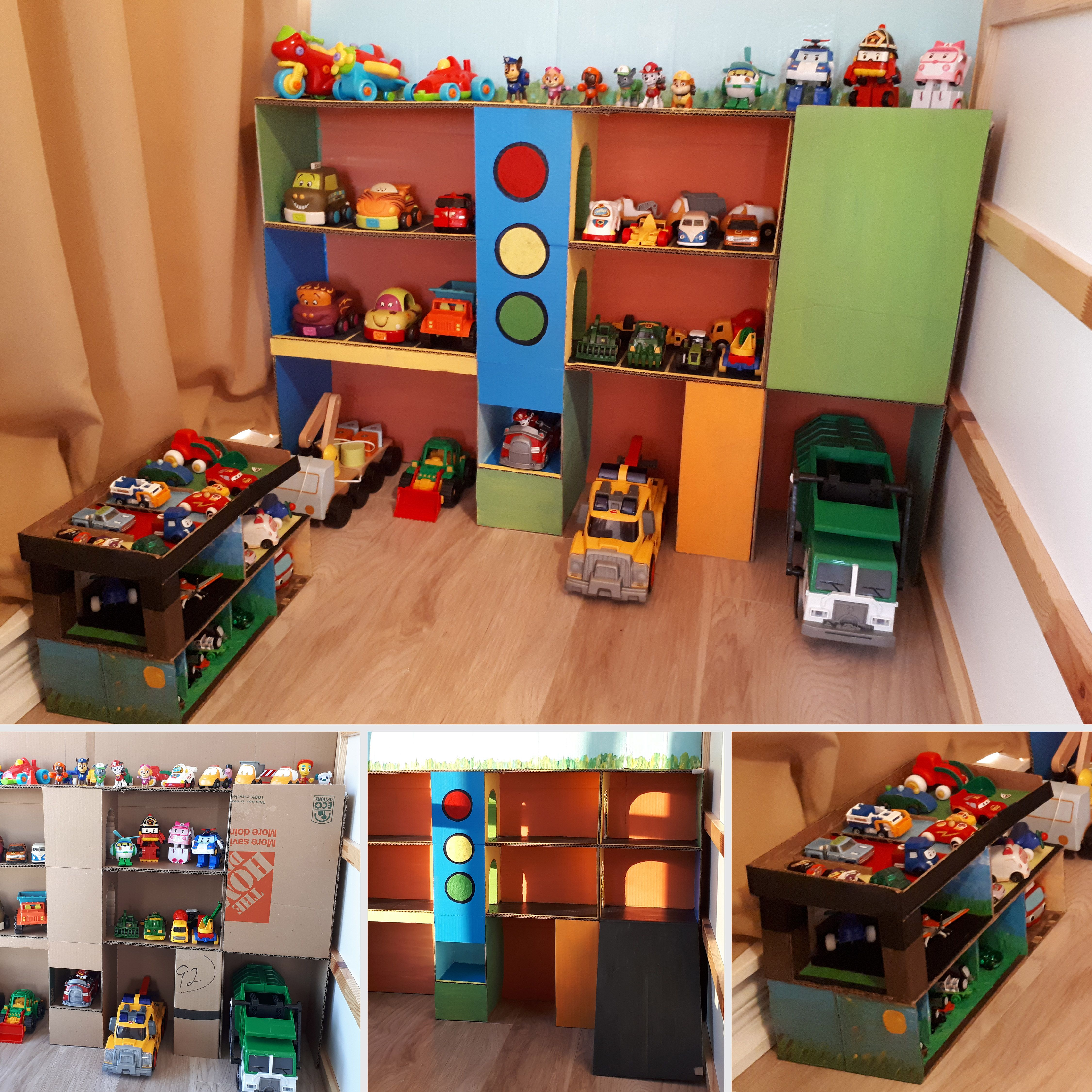 Cardboard Toy Car Garage Diy Ideas Reuse And Play Toy Garage Diy Toy Storage Toy Storage Kids Room