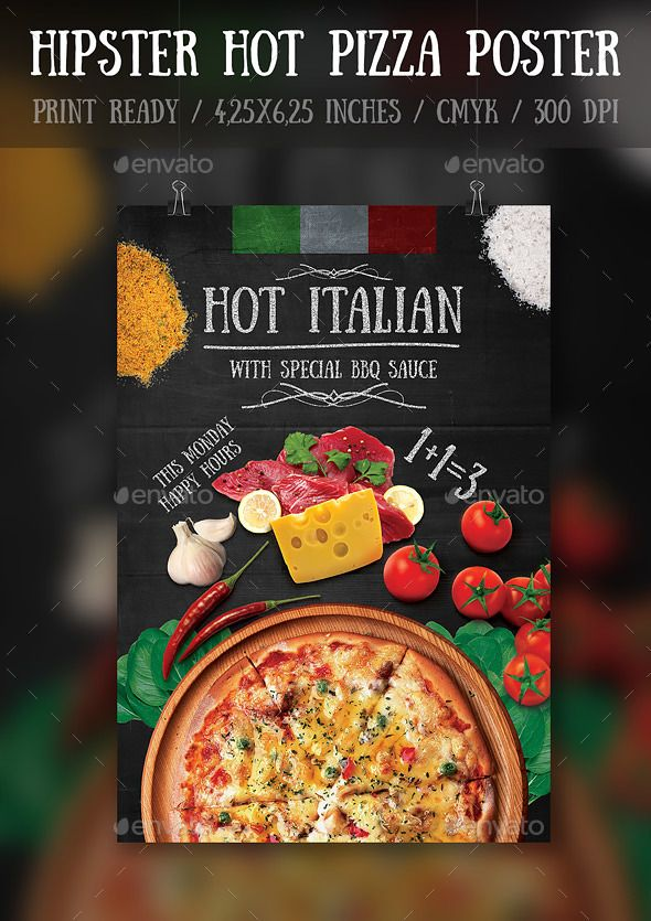 Hipster Hot Pizza Party FlyerPoster Template  Pizza Party Party