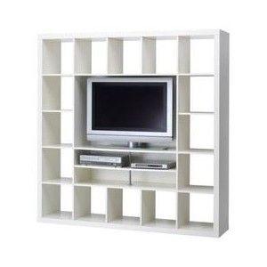 ikea expedit tv storage unit room partition white polyvore - Meuble Tv Ikea Mavas