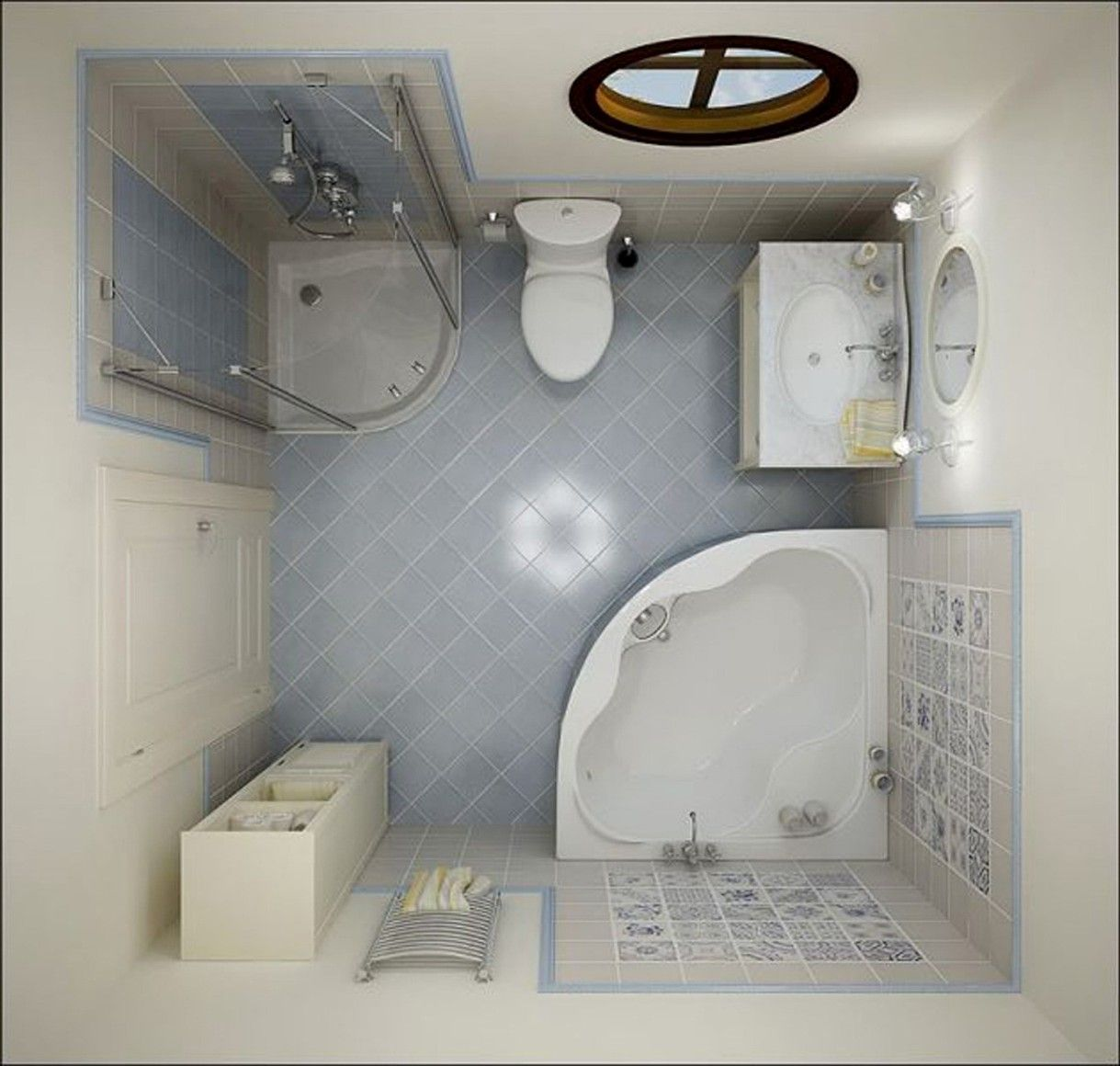 Medium Square Bathroom Design