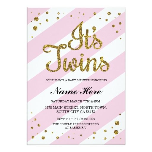 It S Twins Baby Shower Pink Gold Invite Zazzle Com
