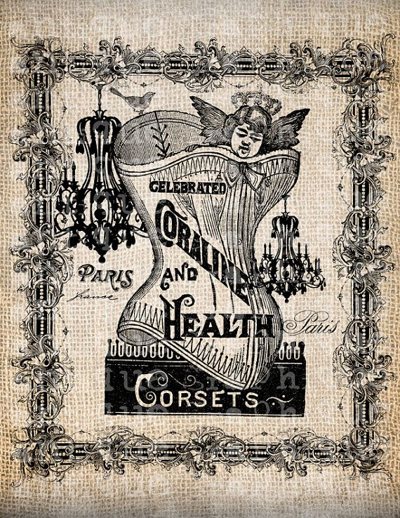 Antique Corset French France Paris Ad Handwriting Fancy Illustration Digital Download for Papercrafts, Transfer, Pillows  No 4095. $1.00, via Etsy.