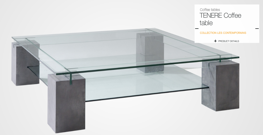Roche bobois tenere coffee table 12mm glued glass top frame in concrete effect finish Roche bobois coffee table
