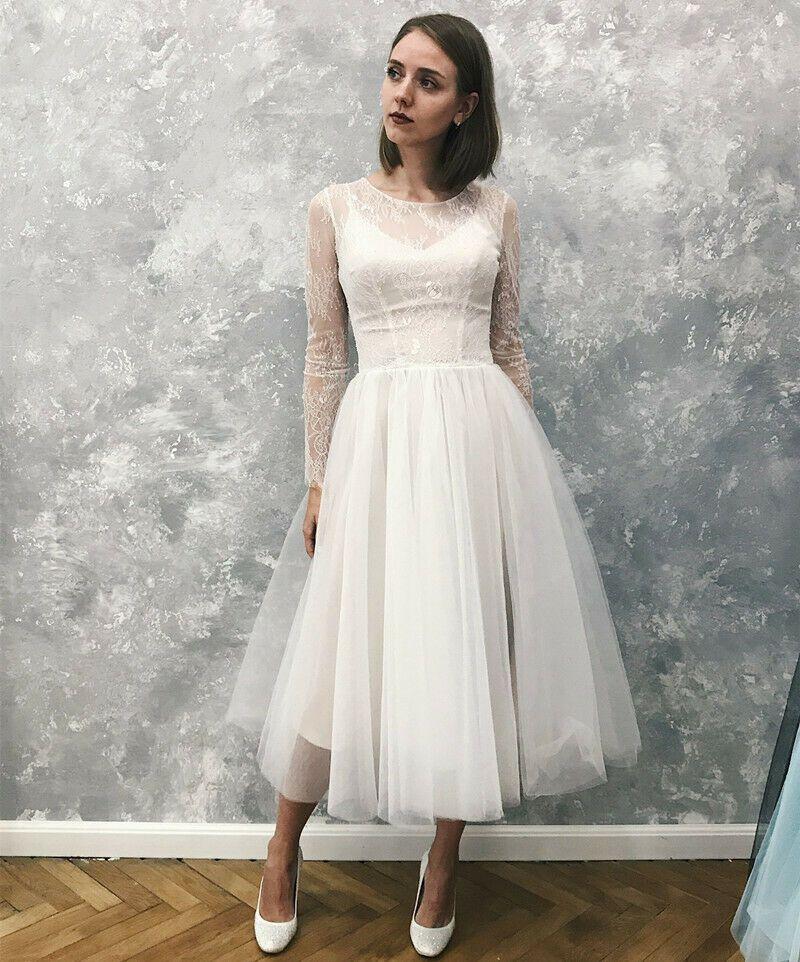 (eBay Ad) Tea Length Boho Long Sleeve Beach Wedding Dress