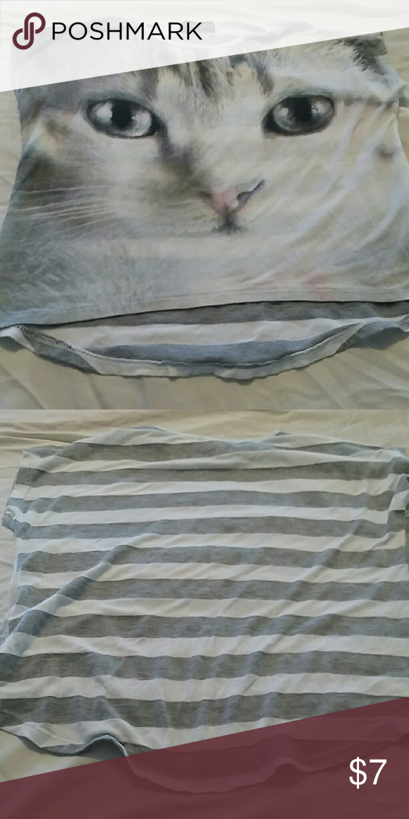 Short sleeve t Tshirt with kitty and stripes, wear over camisole Libertalia Shirts & Tops Tees - Short Sleeve