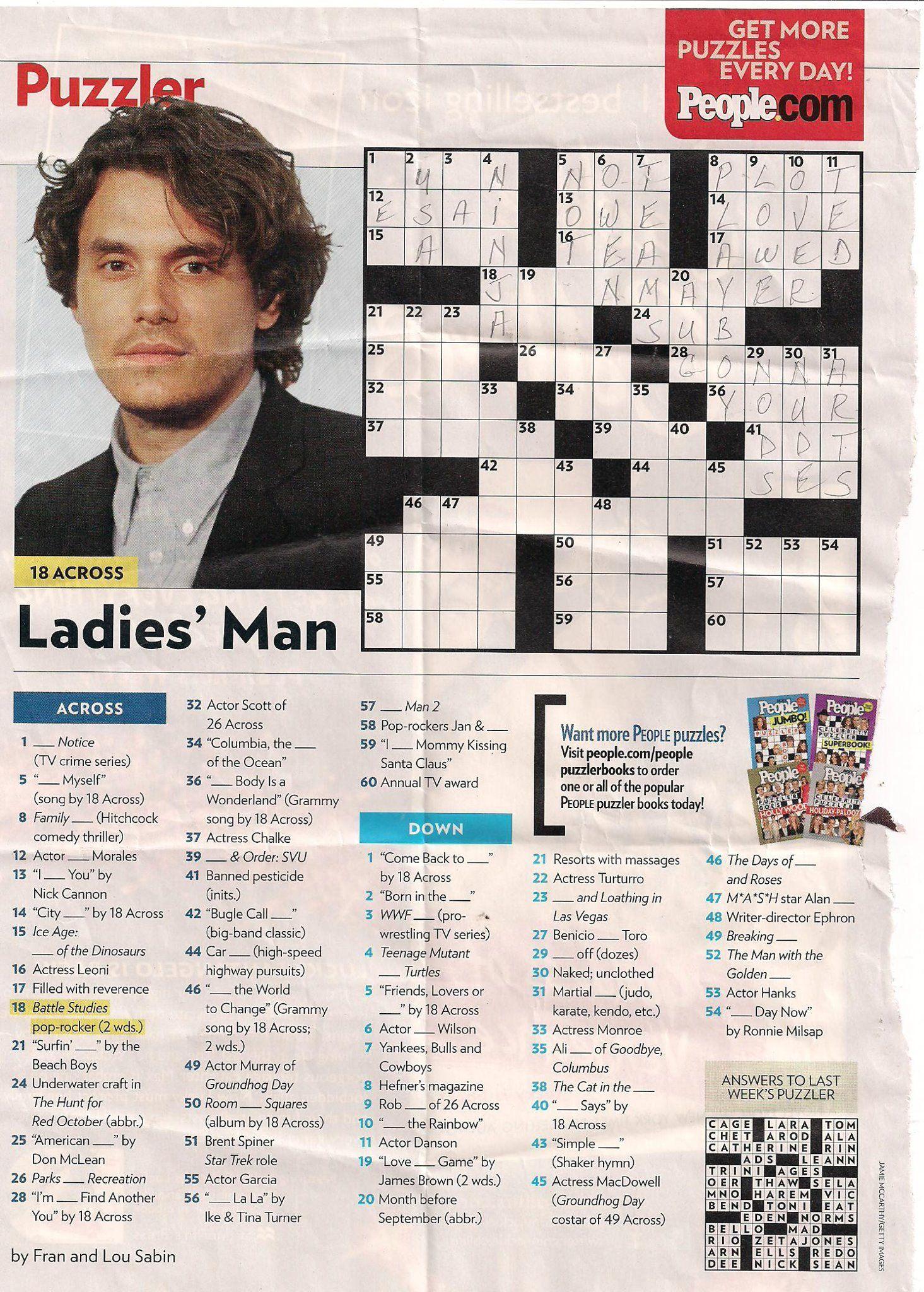 john mayer people magazine crossword i love doin people magazine