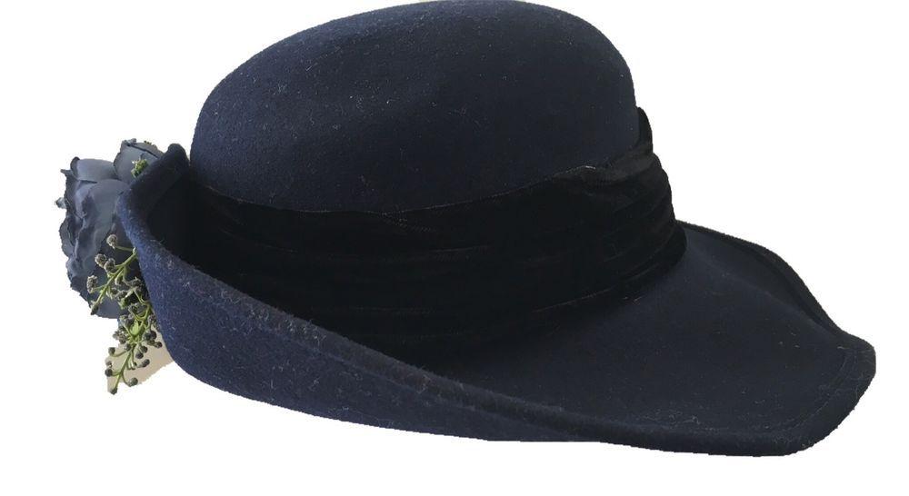 Doeskin Wool Felt Hat Bollman Hat Co. Derby Wide Brim Fedora NWT XL Blue  Flower  58981566a97