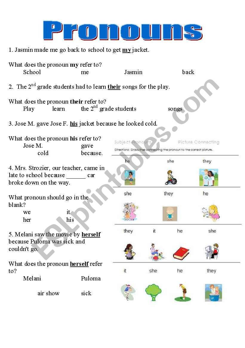 Pronoun Worksheets For 2nd Grade Pronouns Worksheet Y6 Printable Worksheets And Acti In 2021 Kindergarten Reading Worksheets Pronoun Worksheets Kindergarten Worksheets [ 1169 x 821 Pixel ]