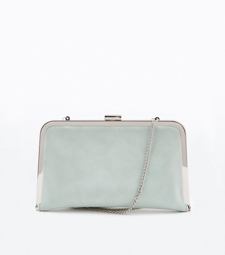 Mintgrüne Clutch mit Metallrahmen | Clutch bags, Mint green and Metals