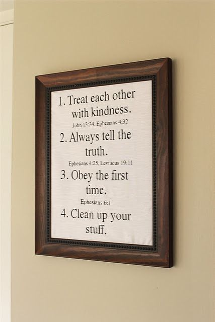 House rules with Bible verses.