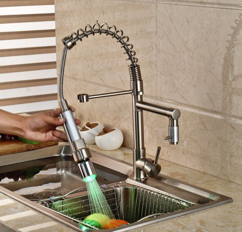 Brushed Nickel Kitchen Faucet LED Pull Down Sprayer Swivel Spout Sink Mixer Tap