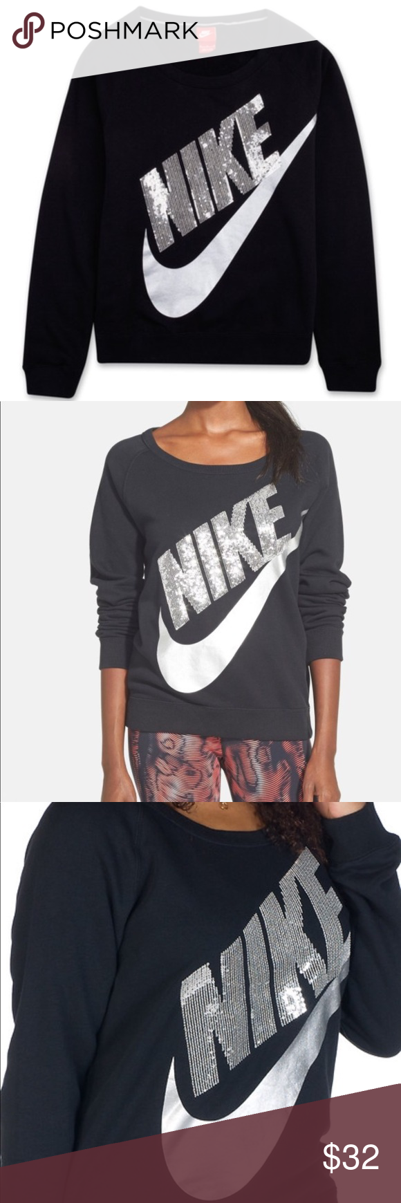 94b500473fde Nike Bling Sweatshirt Swoosh is a metallic silver (no chipping or cracking)  and the lettering is made up entirely of sequins (none missing).