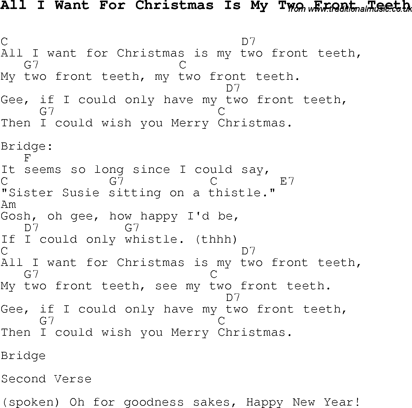 Christmas Songs And Carols Lyrics With Chords For Guitar Banjo For All I Want For Christmas Is My Two Front Te Christmas Songs Lyrics All I Want Ukulele Songs