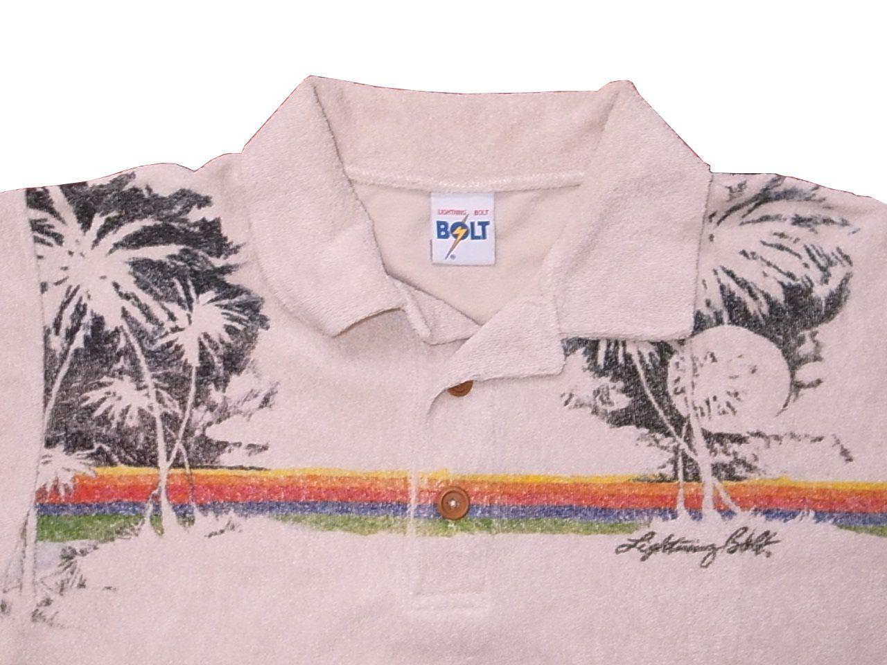LIGHTNING BOLT Surfer Polo Stripes Shirt Large Vintage 80/'s Lightning Bolt Blue Surf Border Stripes Casual Polo Shirt Size L