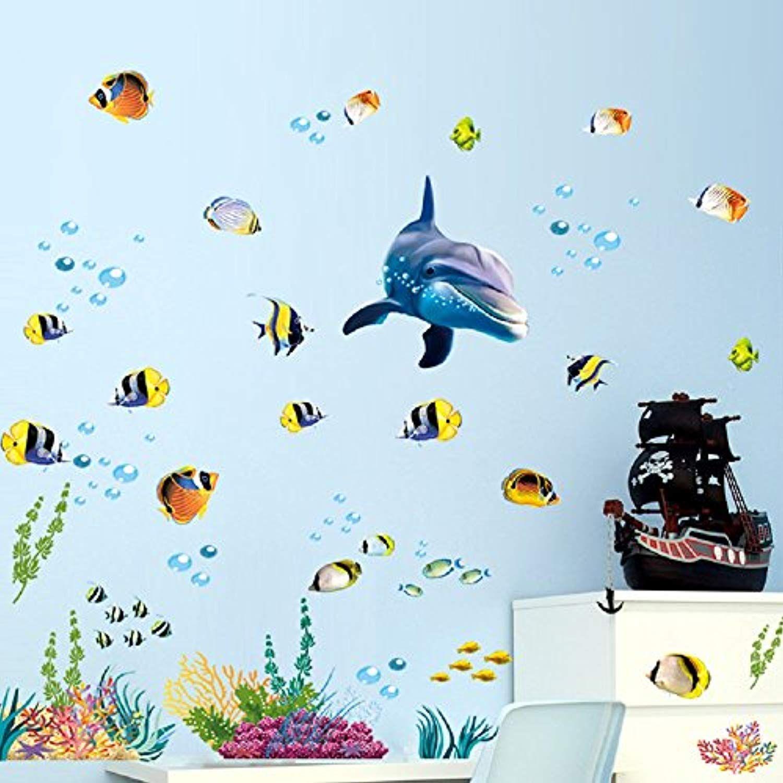 Cute Cartoon Fishes Wall Sticker Bathroom Baby Room Nursery Kids Decor Decal DIY