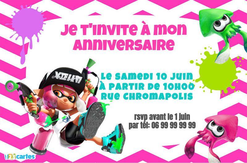 2 Invitations Anniversaire Splatoon à Personnaliser En Ligne