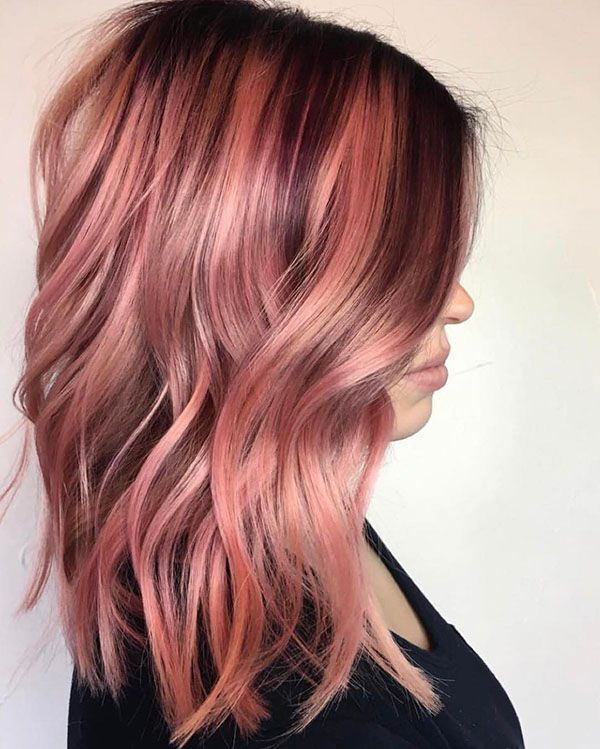 Dark Roots Balayage Pink Hair Hair Color Rose Gold Gold Hair Colors Gold Hair