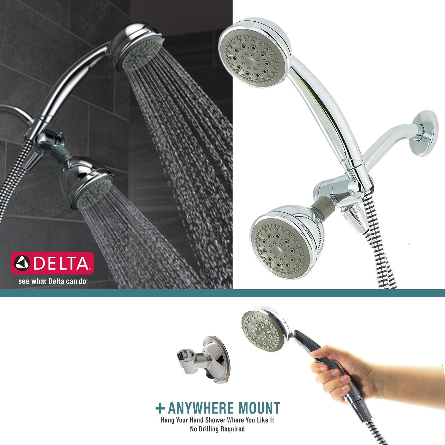 Delta 5 Spray Handheld Shower Head Combo Set With Anywhere Mount Holder Chrome Discontinued No Longer Available Dual Shower Heads Shower Heads Delta Faucets