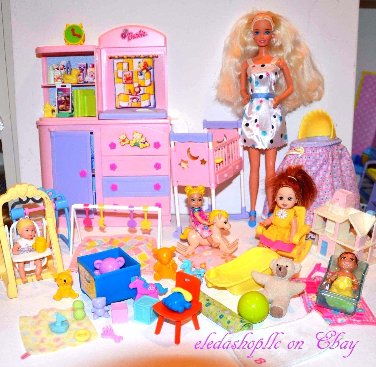 Barbie Kelly Doll House Baby Nursery Happy Family Adorable Cloth Teddy Bear