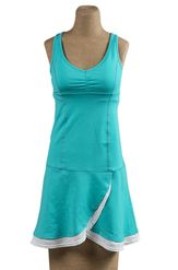 Martina Hingis for Tonic Tennis   Volley B dress in pool and white mesh   Find this active dress at shopfootloose.com