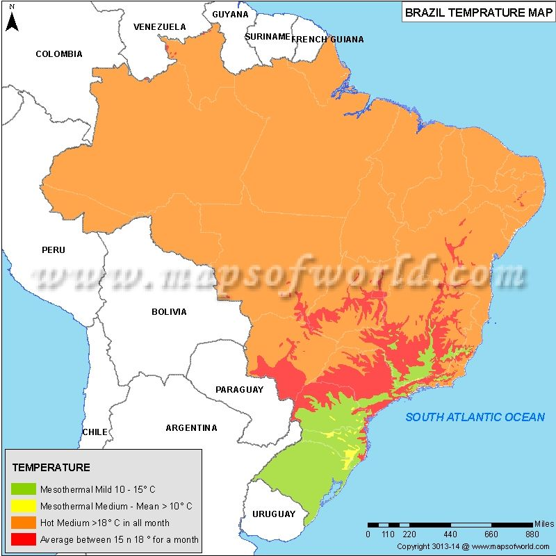Brazil Temperature Map Maps Pinterest Brazil - blank road map